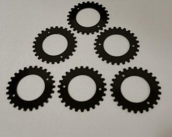 Steampunk Gears - 21mm - Black Steel - 6 gears in package