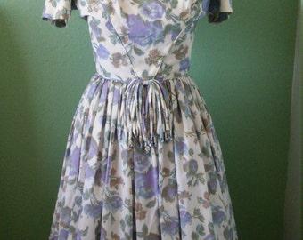 1950s floral chiffon party dress