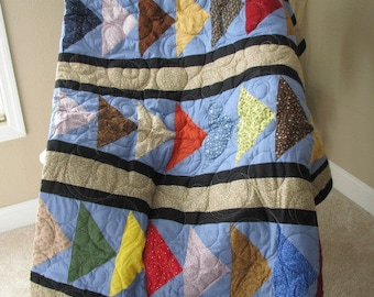Flying Geese Queen Sized Handmade Quilt