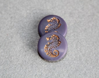 Pressed Czech Glass Matte Finish Tablet Bead, Coin Lavender Seahorse Beads, Purple Sea Horse Bohemian, Scrapbooking Supplies Jewelry Making