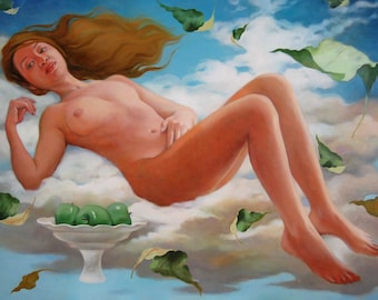 """Painting female nude, surreal. Oil on canvas. Painting of major dimensions."""" From Apple"""""""