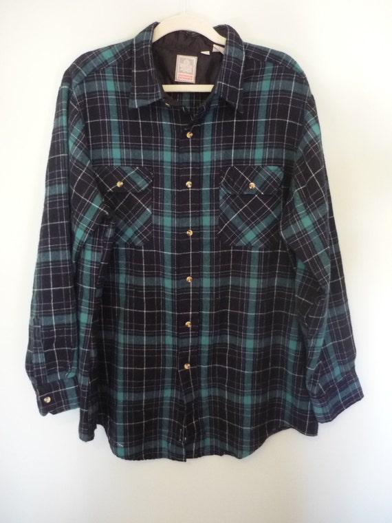 1980s Green and Black Flannel Shirt / Vintage Grunge Style / Modern Size Extra Large XL to XXL / Vintage Big and Tall