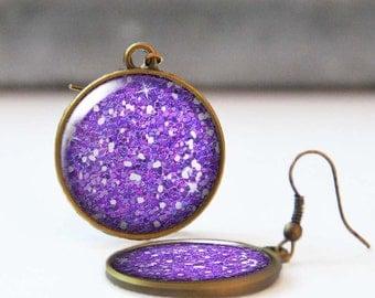 Purple Glitter Earrings, 25 mm 1 Inch Round Dangle Statement Earrings, Bohemian Resin Jewelry, Bridesmaid gift, 5016-S18