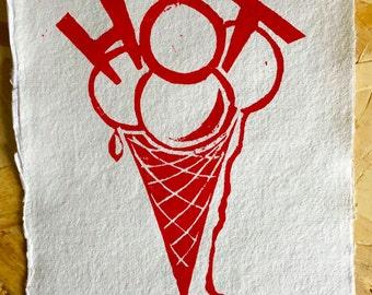 Ice cream, red hot! Lino print on handmade paper of cotton.