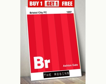 Bristol City football club print, Bristol City wall art, The Robins, Bristol City  prints