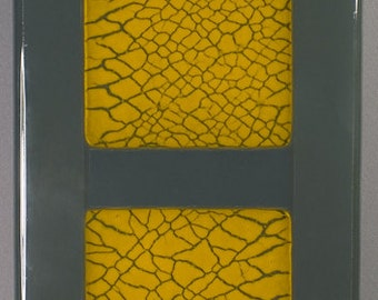 Panel 6,  fused glass, crackle glass insert, wall panel 5 1/4 x 16 1/8 inches