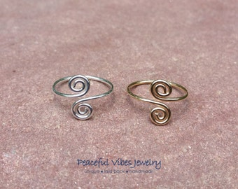Toe Ring Adjustable Swirl Spiral Midi Ring Knuckle Ring Sterling Silver Or 14K Gold Filled Spiritual Jewelry