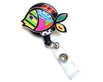 Vibrant Fish-Lovely Badges-Designer Badge Reel-Fish Badge Reel-Fish Badge-RN Badge Clip-Cute Badge Reel-Fun Badge Reel-Id Badge Holder-Nurse