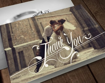 Classy Photo Thank You Card Classy Photo Card Wedding Thank You Card Wedding Photo Card