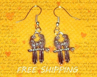 dangle earrings, metal parrots dangle earrings
