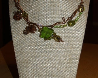Pine cone caterpillar green necklace, bronze wire