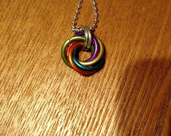 Heavy Rainbow Knot Chainmaille Pendant, Rainbow Pendant, Chainmaille Pendant, Chainmaille Knot, Moebus Knot, Chainmaille, Anodized Aluminum