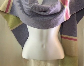 100% Thick Cashmere Scarf Multi-color pattern. Vintage 1970s. Perfect for a crisp day.