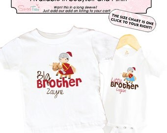 Big Brother Knight Shirt SET Little Brother Horses Sibling Personalized Big Sister Big Brother Shirts bodysuit SET