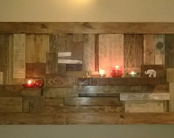 A beautiful large reclaimed wood wall sculpture with shelves (made to order)