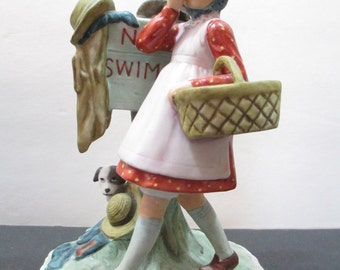 ROCKWELL NO SWIMMING Figurine  by Gorham 1974, Norman Rockwell Figurine, Gorham Figurine 1974, Rockwell Figurine Made in Japan