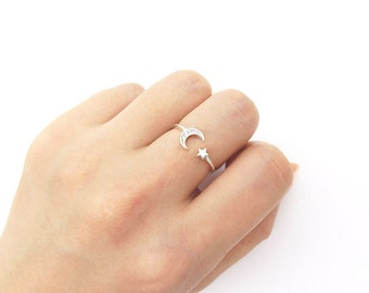 Star and moon ring / Adjustable ring / Sterling silver open ring / Moon silver ring / Star silver ring / Delicate ring / Ring with gift box