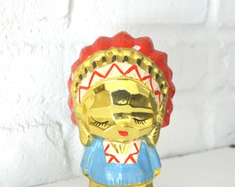 Hand Painted Gold Ceramic Coin Bank, Native American Figure