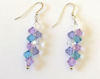 Sterling Silver Earrings, Swarovski Crystal Earrings, Lavender Garden Earrings