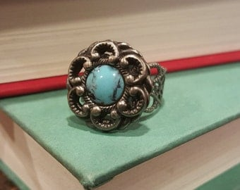 Silver Ring with Faux Blue Stone