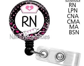 Retractable Badge Holder, Pink Leopard Nurse, Retractable Badge Reel, Badge ID Holder, Nurse Badge Reel, Nurse Badge Id Holder