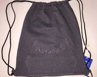 Super Cute Personalized Rhinestone Name and Heart Drawstring Bag