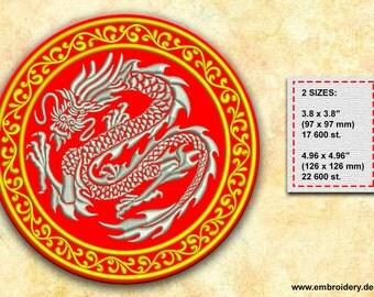 Gray Dragon embroidery design