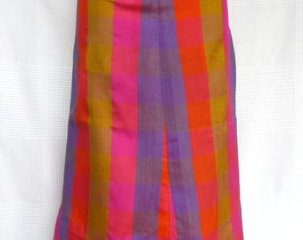 Multicolored skirt in silk 70 s