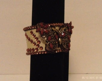 Brown and silver butterfly bracelet