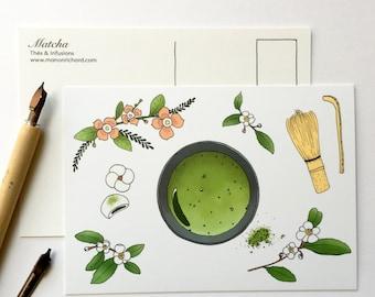 Map postcard tea Matcha 1pc