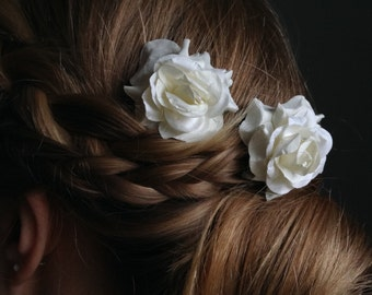 Bohemian Paper Rose Hair Pins. Ivory Bridal Hair Accessories. Set of two.
