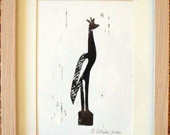 Crane linocut linoleum print black white