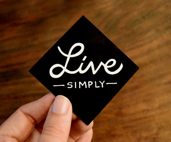 Live Simply Laptop Sticker Mindful Quote Black And White