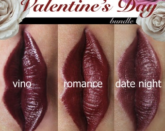 lipstick valentine's day, red natural vegan lip color, mineral cosmetics value pack