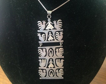 Citlali Sterling Silver Handmade Pendant and Necklace From Mexico