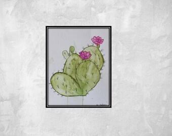 Watercolor cactus painting- 8.5x11.  cactus art watercolor art