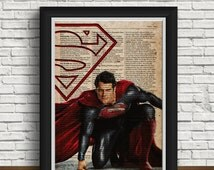 Superman print  wall art |  superhero poster | postcards clark | newspaper design | clark kent | home interior | retro | superman birthday