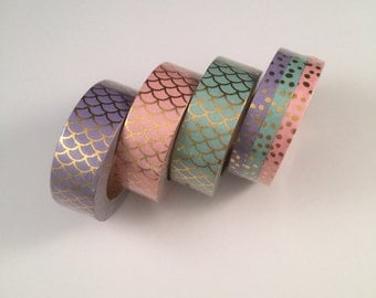 Pastel mermaid foil scales ; skinny foil dots set washi tape