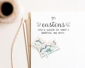 Laurel Stamp - Personalized Address Stamp, Return Address Stamp, Wedding Stamp, Customized Stamp, Calligraphy, Summer Wedding (Style 14)