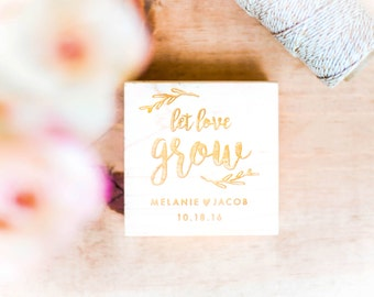 Let Love Grow Stamp -  Personalized Wedding Favor Stamp, Seed Wedding Stamp, Wedding Favor Ideas, Floral Wedding, Seed Packet (Style 2)