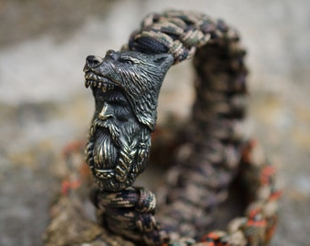 Viking bracelet - Viking knit bracelet with a unique bronze clasp «Berserker». The DARK COLOR of the CLASP, 40 colors of paracord!
