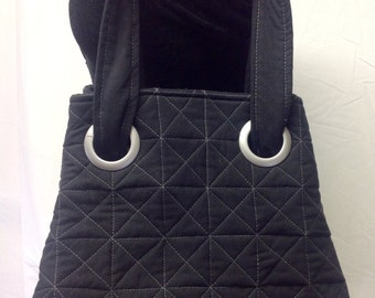 Black Quilted Tote bag, Cross  body tote, shoulder bag