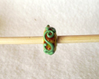 Unique Lampwork Glass Bead for European Charm Bracelets 925 Sterling Silver F022