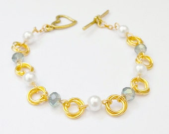 Gold Chainmaille Bracelet, 2 Colours, Chainmaille Bracelet, Mobius
