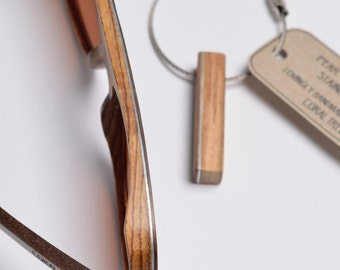 Wooden Wire Key Chain/Cable Key Chain - Pear Wood & Walnut Wood