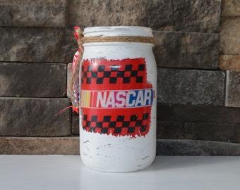 Nascar Decorative Quart Size Mason Jar