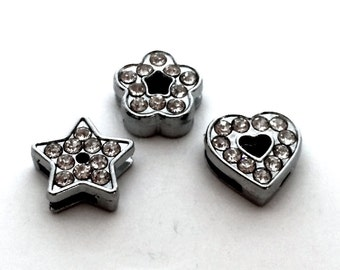 Rhinestone Slide Charms 8mm