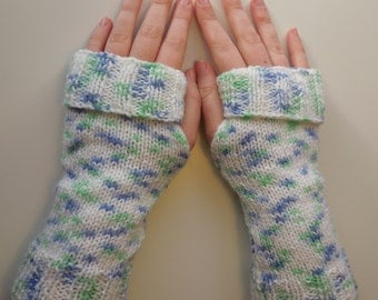 Green Wrist Warmers With Purple and Green Pattern