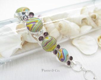 Calsilica Amethyst Sterling Silver Bracelet