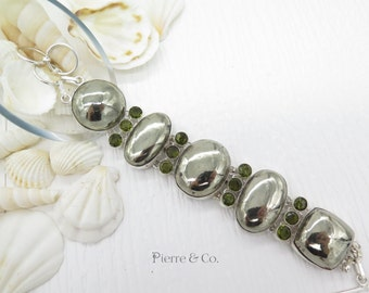Titanium Drusy and Peridot Sterling Silver Bracelet